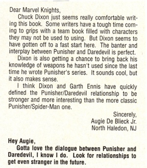 Marvel Knights #5 letters column letter from Augie De Blieck Jr.