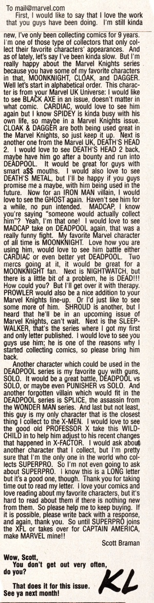 Marvel Knights #9 crazy letter writer