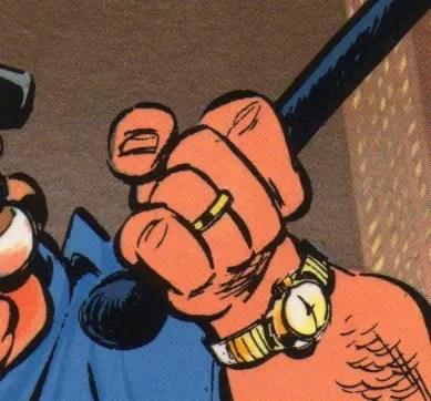 Ring on officer's finger in Spirou and Fantasia in New York