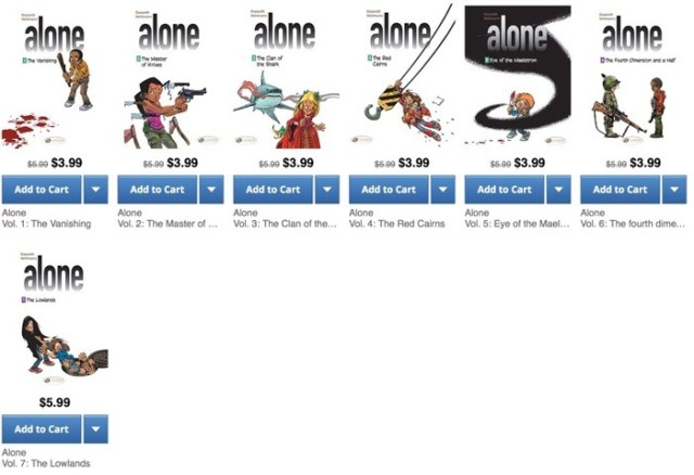 Alone volumes 1 - 7 at Comixology