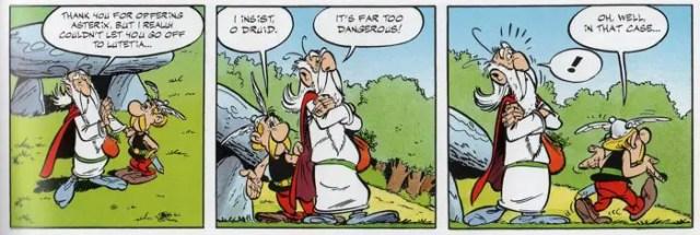 Asterix teases the Druid Getafix