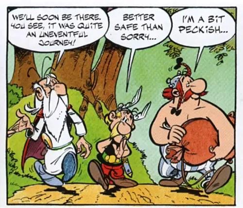 Asterix, Getafix, and Obelisk walk down a path