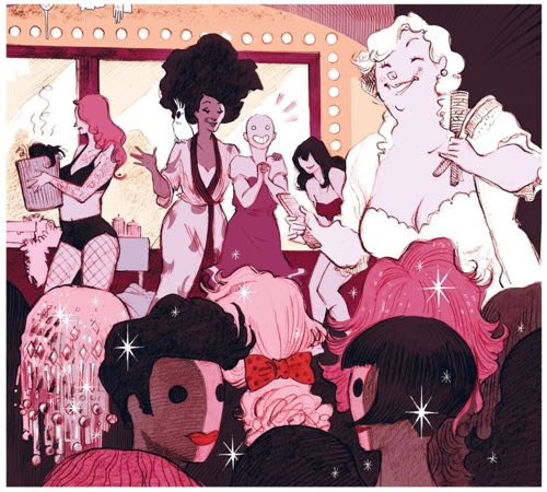 Back stage at the burlesque show, Betty is thrilled by all the wigs