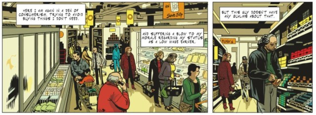 Oiry draws all the details of the supermarket