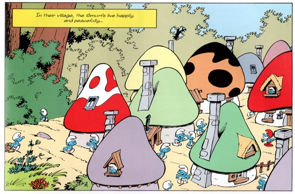 """Smurf Village overview with plenty of mushroom houses, from """"A Smurf Not Like the Others"""" by Peyo and friends"""