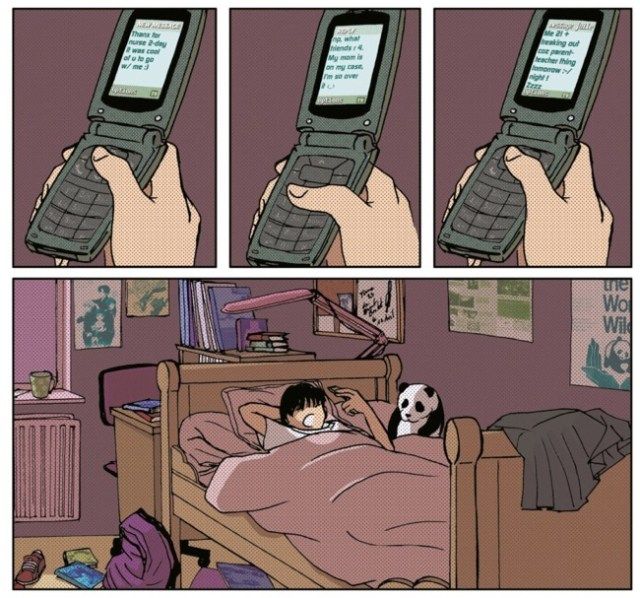 Valentine and friends use flip phones, not smart phones, placing the story in a pre-2007 setting.