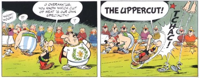 Dogmatix meets Obelix for the first time on the last page of Asterix and the Banquet