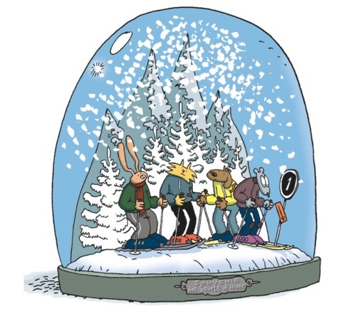 Lewis Trondheim Slalom title card image with all the characters in a snowglobe