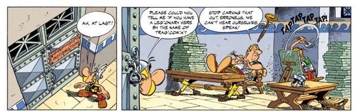 Asterix the Legionary page 16 first tier - Asterix seeks information on  Tragicomix s location 931778aa58