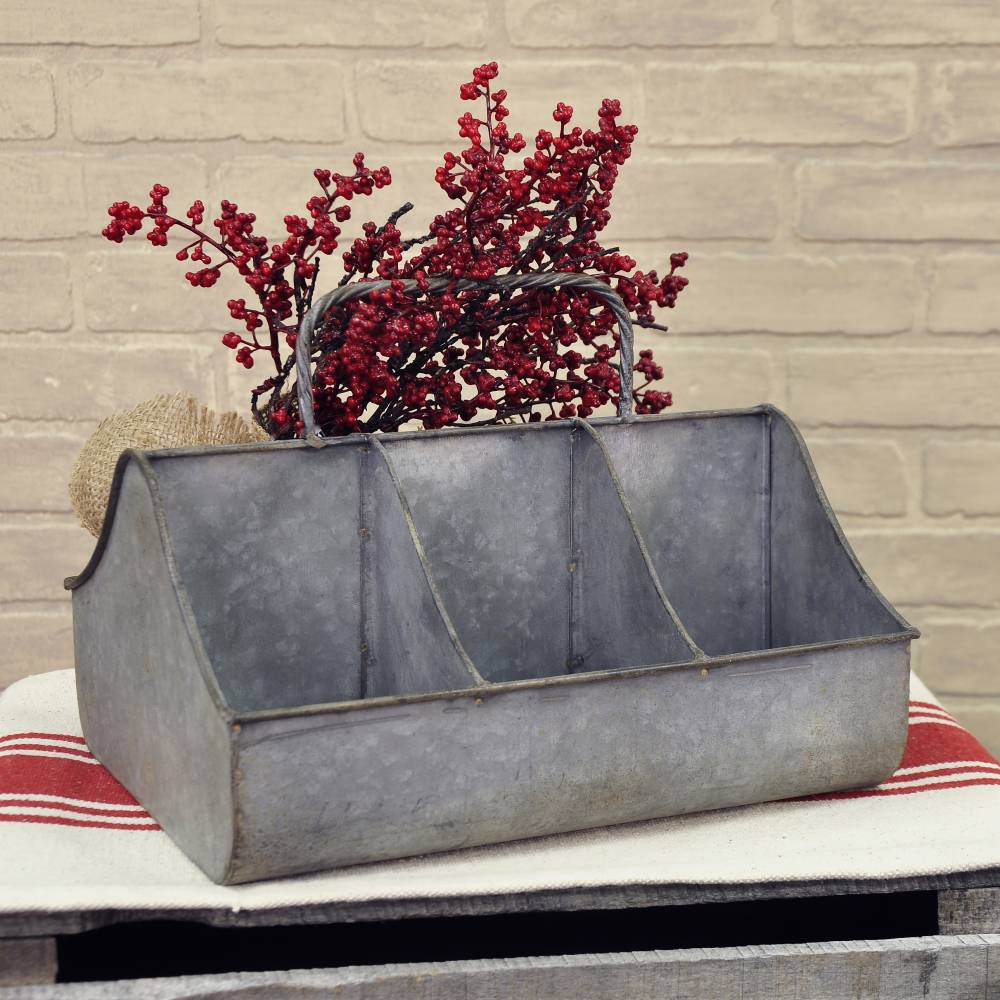 Galvanized Divided Cubby Tray Piper Classics