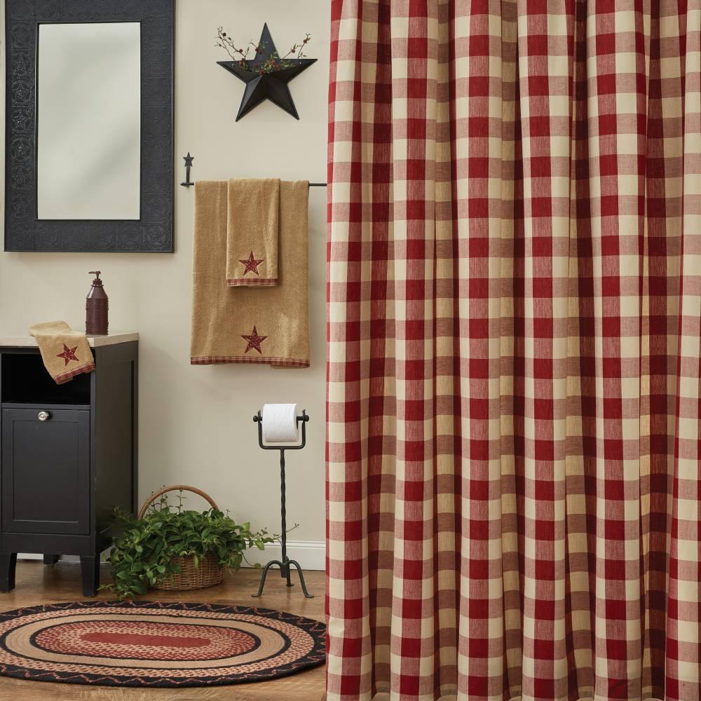 Farmhouse Country Bathroom Wicklow Barn Red Shower Curtain
