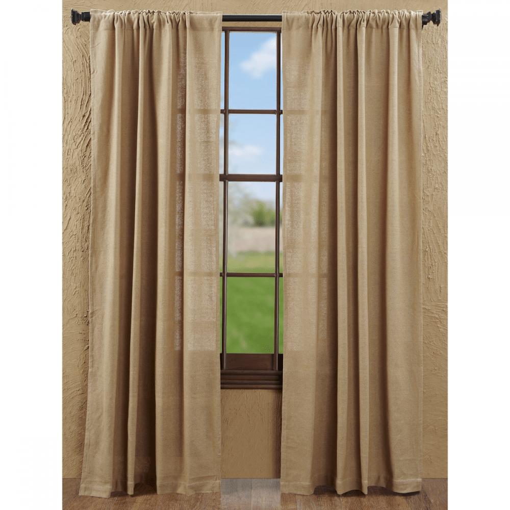 burlap natural drapes 84 set 2