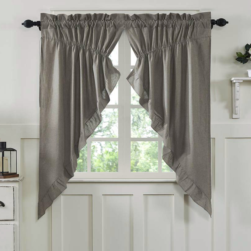 Ruffled Chambray Taupe Grey Prairie Curtains Piper Classics