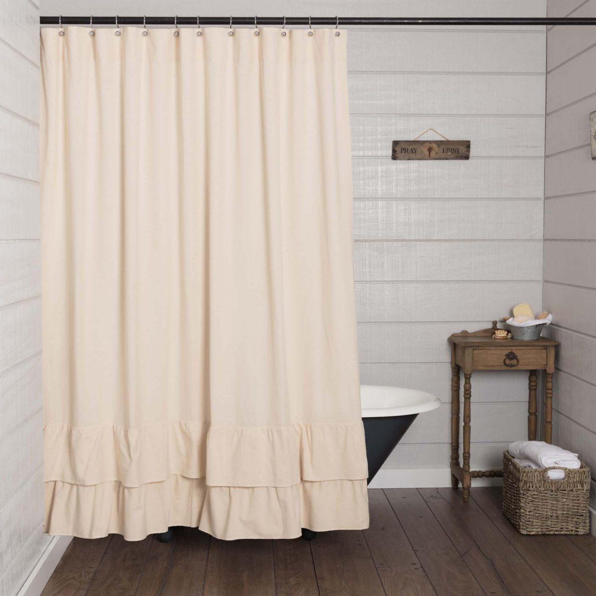 ruffled chambray natural shower curtain