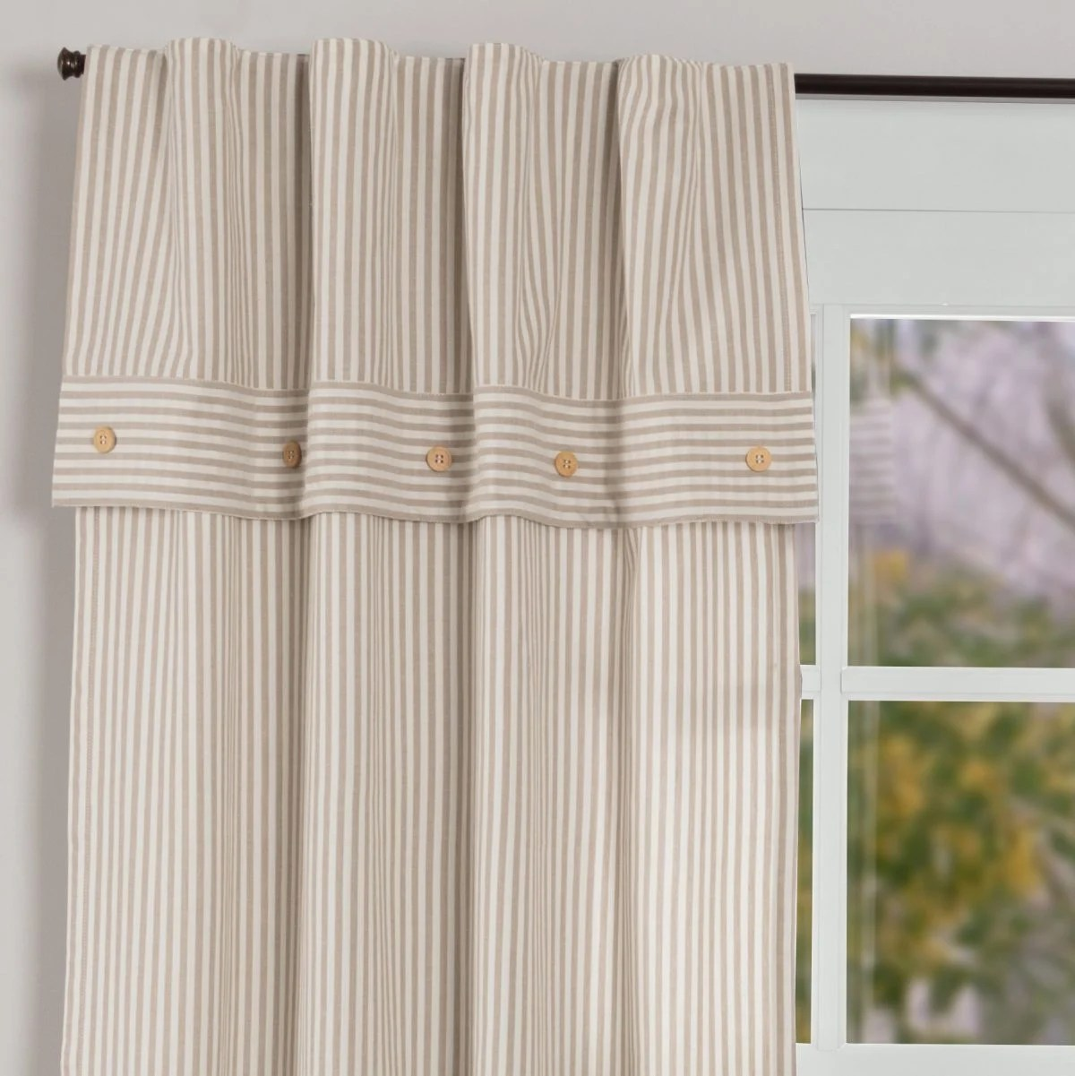 Farmhouse Ticking Taupe Lined Valance Panels