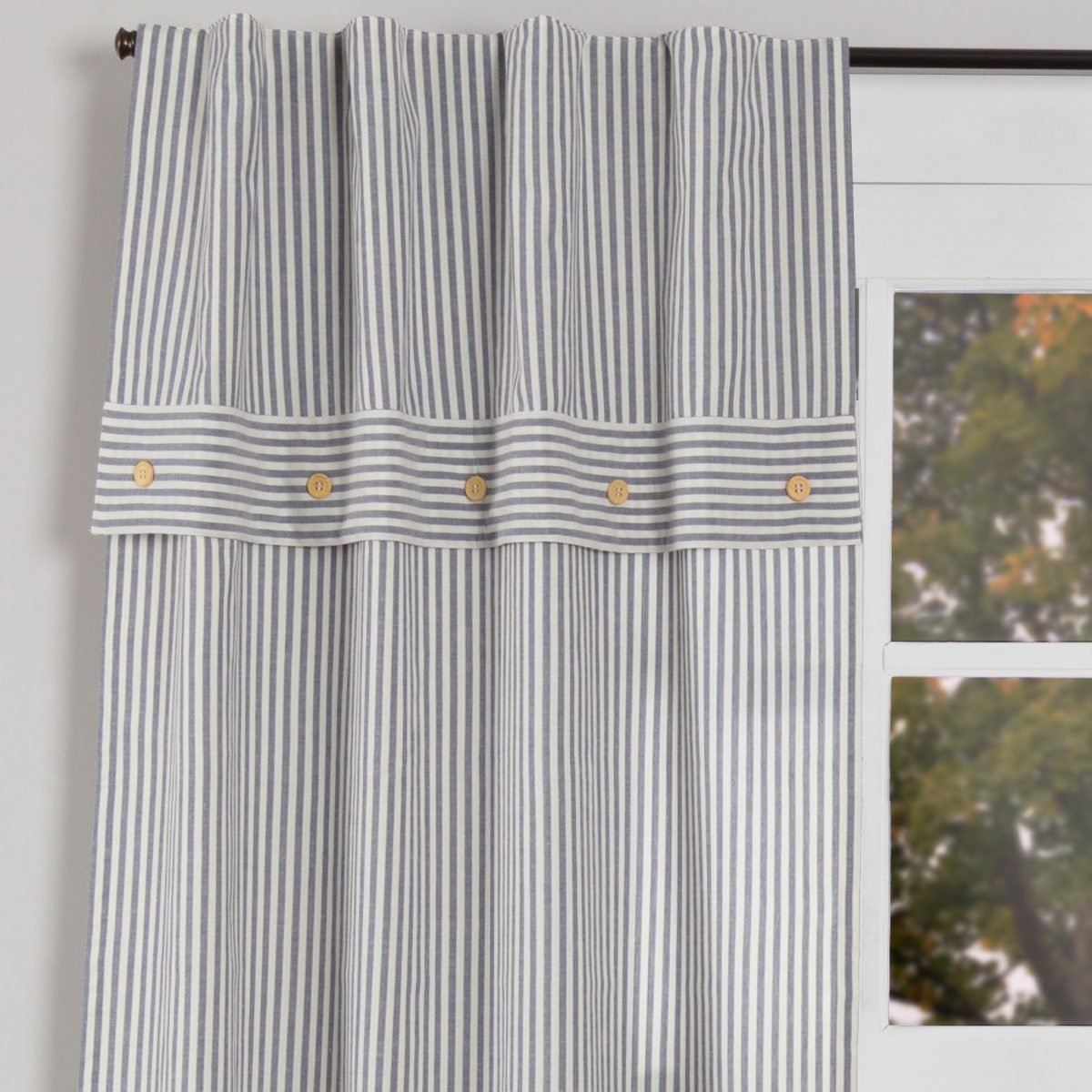 Farmhouse Ticking Blue Lined Valance Panels