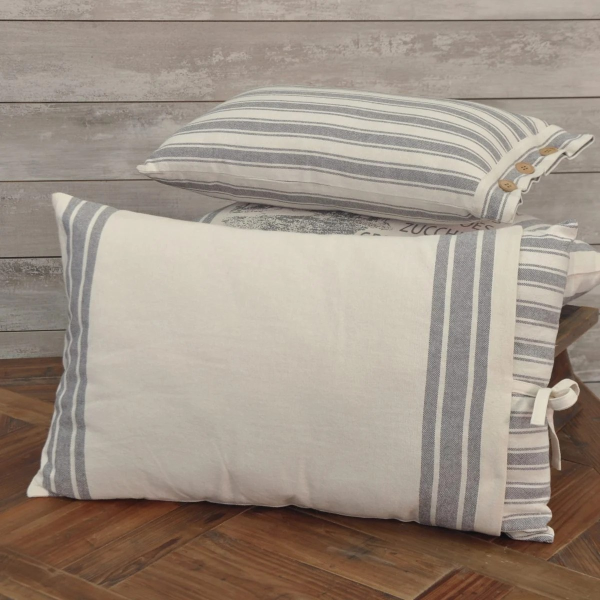 market place gray 16 x 26 ticking w grain sack pillow cover