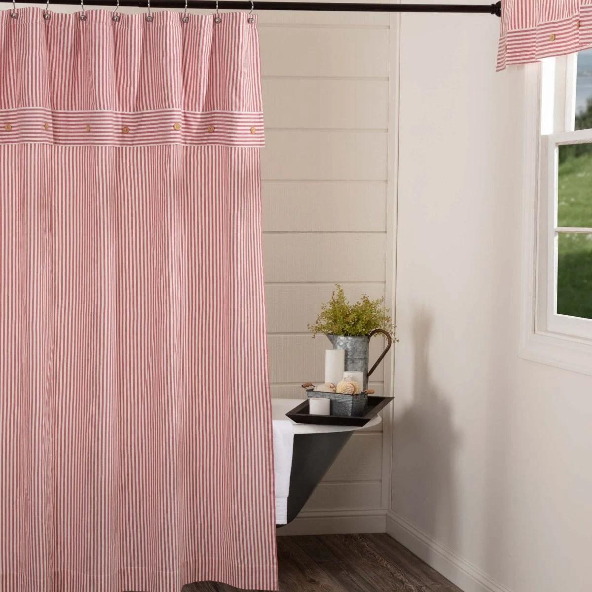 farmhouse ticking red shower curtain