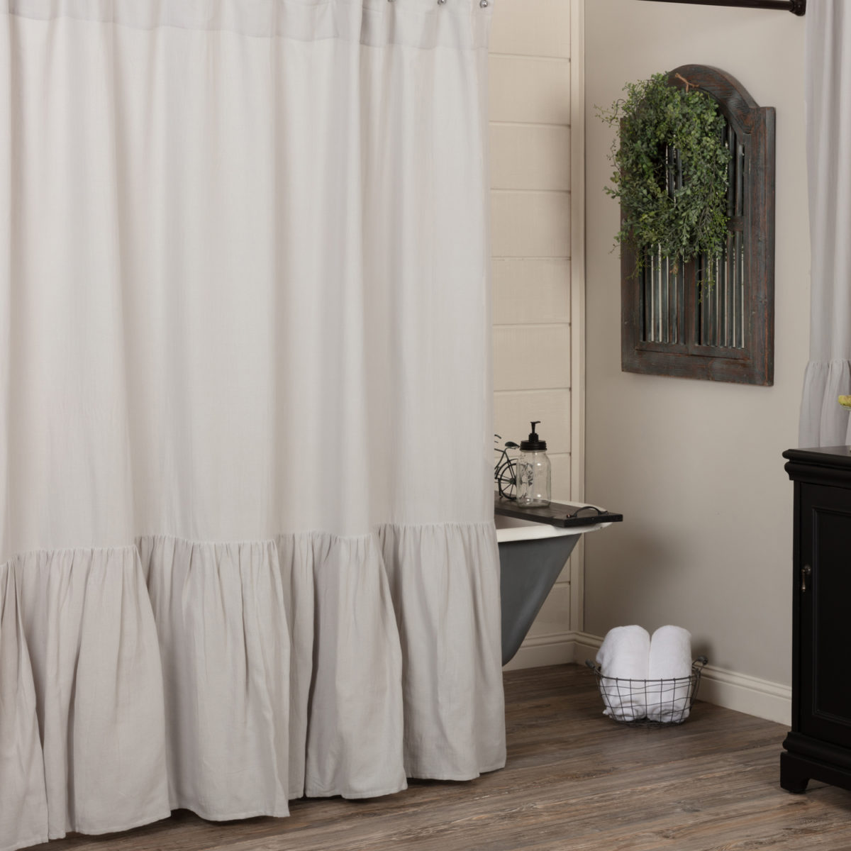 annabelle gray high ruffle shower curtain