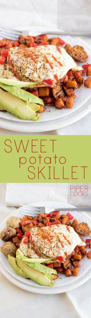 Sweet Potato Skillet - Healthy and filling breakfast or dinner with sweet potato, your choice of protein and vegetables. Get the recipe at PiperCooks!
