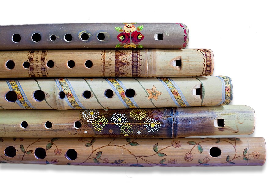 Group of pipes made,  decorated, and photographed by Rose Atkinson