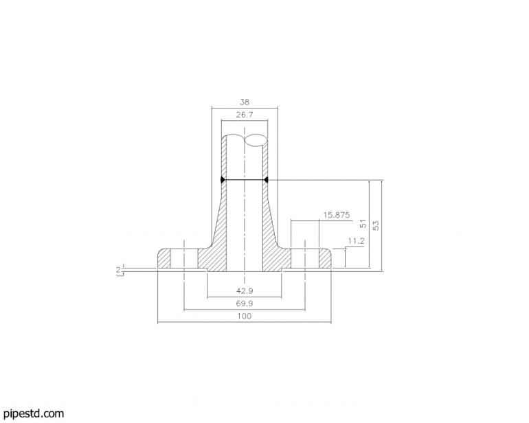 Welding Neck Flange Class 150 3/4 Inch