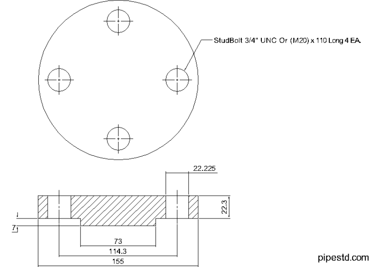 Blind Flange 1 1/2 Inch Class 600