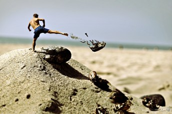 Fight-off-your-demons. Man fighting bug in a beach Palanga. Surreal photography. Motivational quote