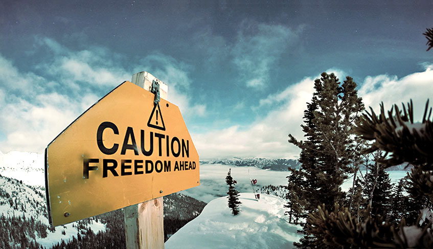 caution-freedom-ahead. Piplum motivational cover for website. winter cold and ski.