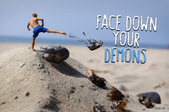 Motivational Quote. Man fighting bugs in the beach. He kicking with his legs.
