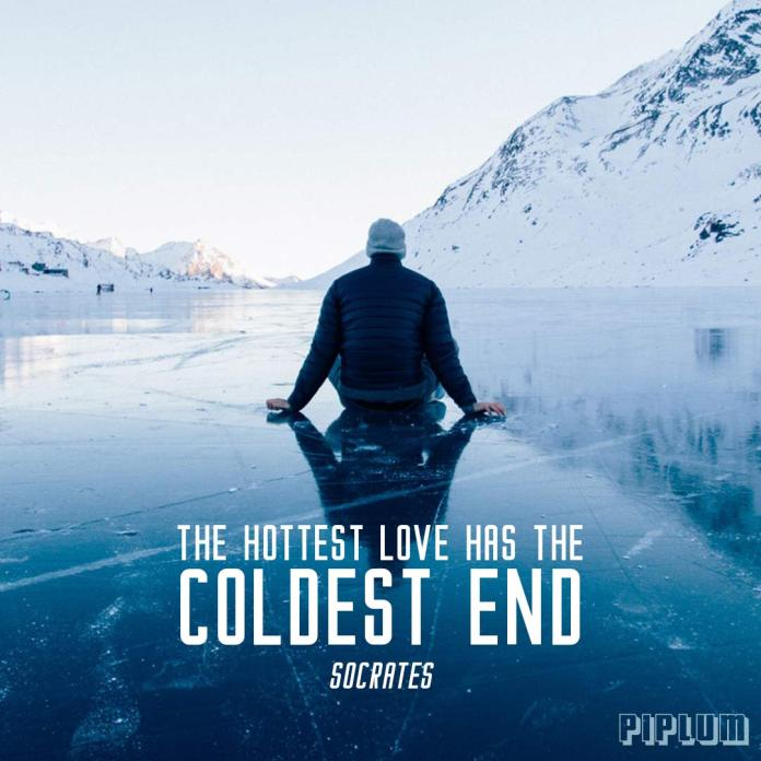Break up quote. Man sitting on a frozen lake. Ice everywhere.