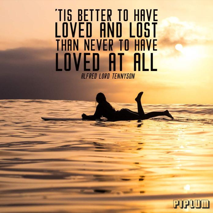 Break up Quote. Woman relaxing on the surfboard. Sunset in the horizon.