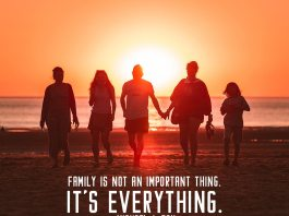 Family quote. family walking back from the beach. Beautiful sunset behind them.