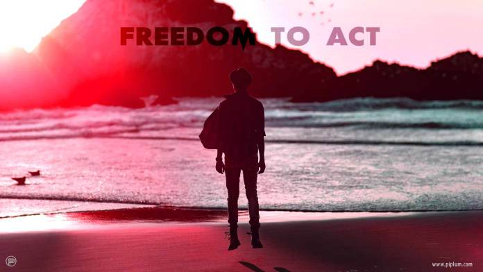 Freedom-to-act-inspirational-quote-sunset-sunrise-unknown
