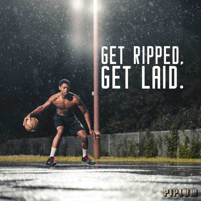 Workout quote. Black guy playing basketball outdoors in the rain.