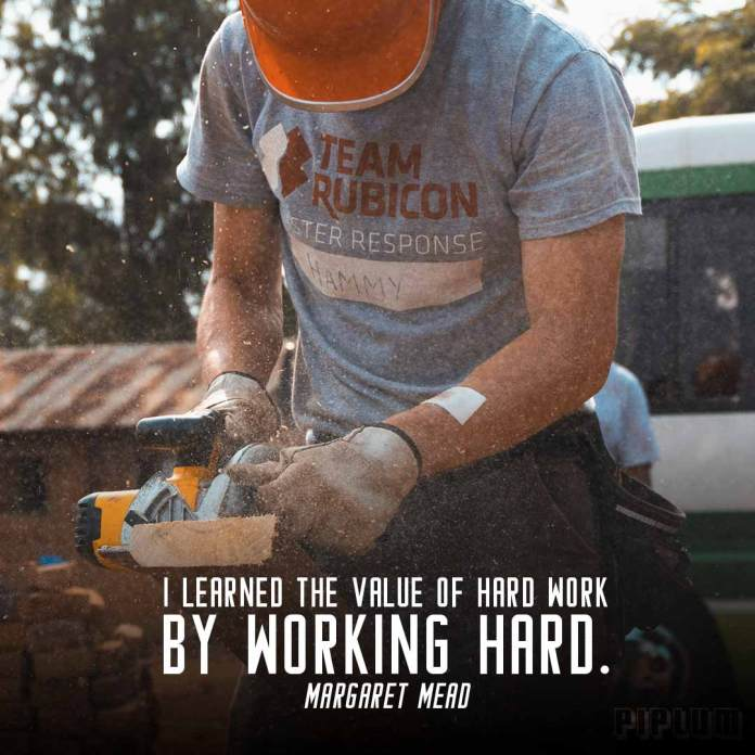 Work quote. Man working with saw in Africa. Helping people.
