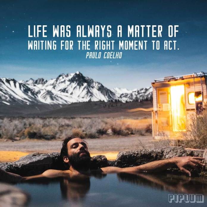 Life quote. Man chilling in a hot mountain spring.a