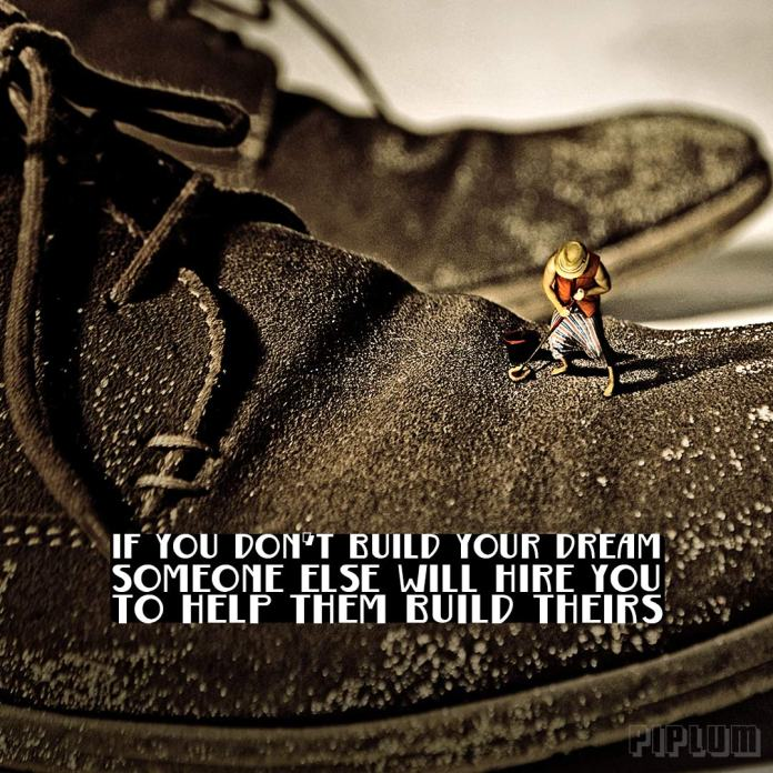 Work quote. miniature man cleaning his boss shoes. Surreal photography. Photo manipulation