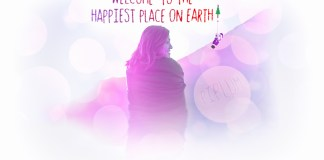 facebook-cover. Smilling girl welcomes you to the happiest place on earth. Happy Christmas Poster.