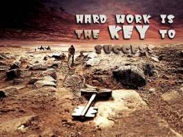 Hard work is the key to success. Work Quote.