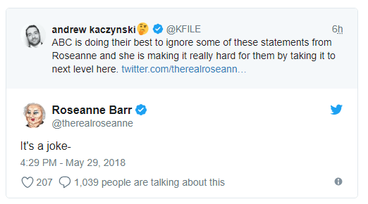 She also defended her remark about Jarrett as a joke, in a tweet to a CNN reporter