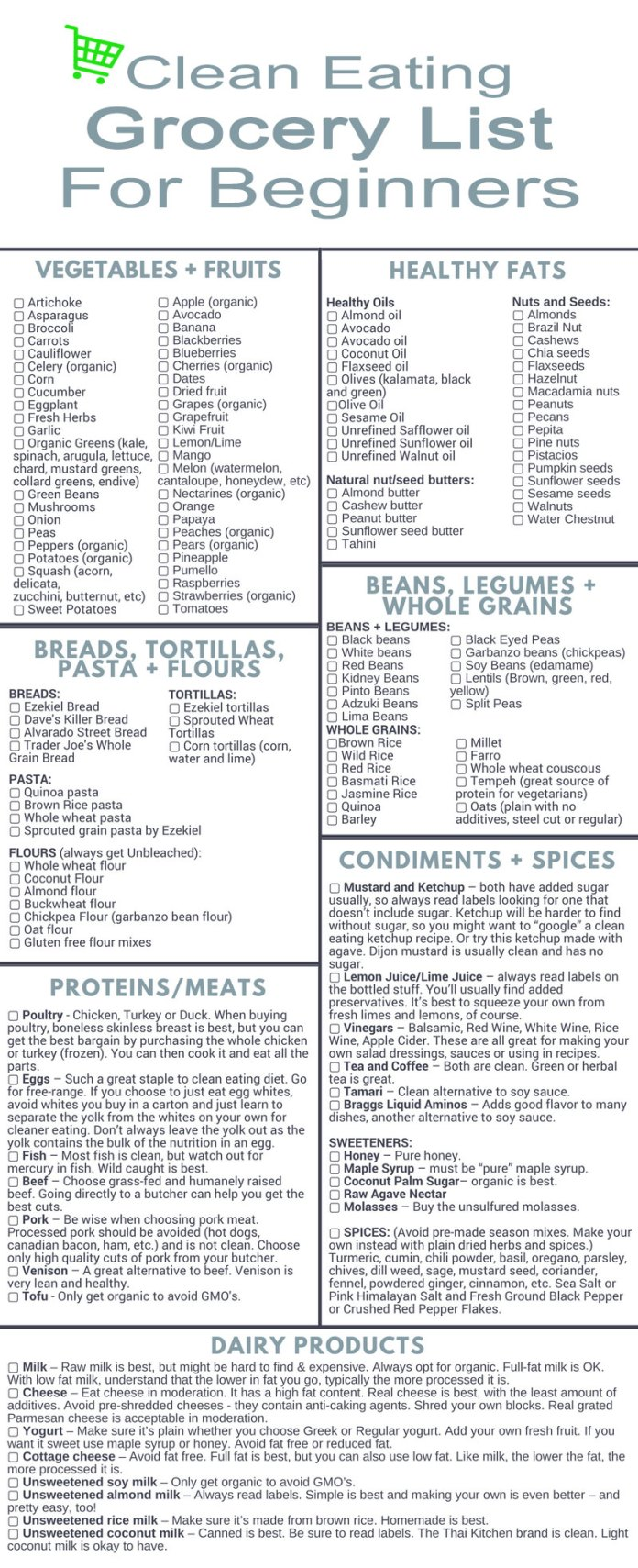 Clean-eating-grocery-list products women should buy to be healthy