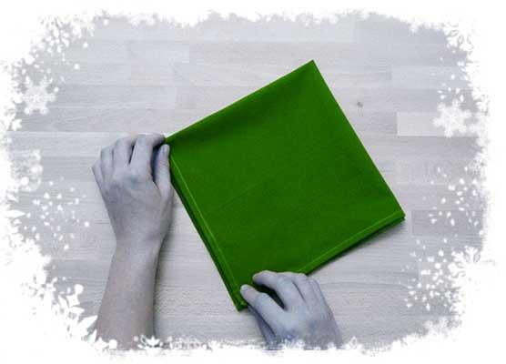 Christmas-tree-folding-tutorial-Folding-twice-Step 1.