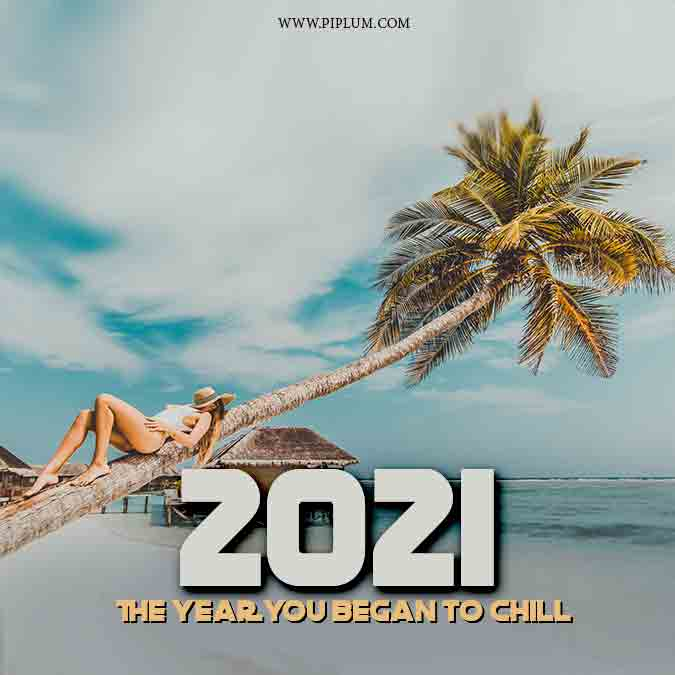 Stay chilled. Motivational beach quote for tropical 2021.