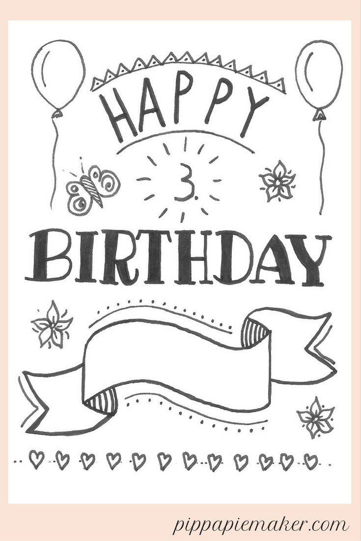 Freebie Printable! Eine Hand Lettering Geburtstagskarte, die du sofort ausdrucken und mit dem Namen des Geburtstagskindes personalisieren kannst!