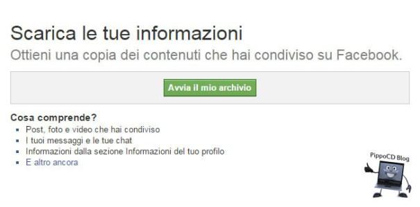 Facebook Avvia Archivio Backup