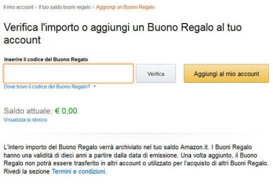 Codice acquisto Amazon
