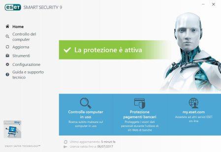 eset smart security interfaccia