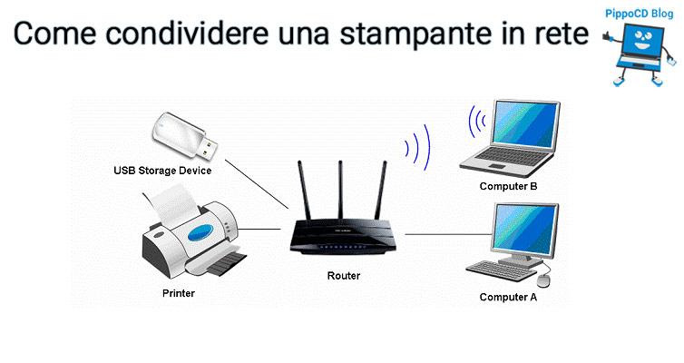 Condividere stampante in rete