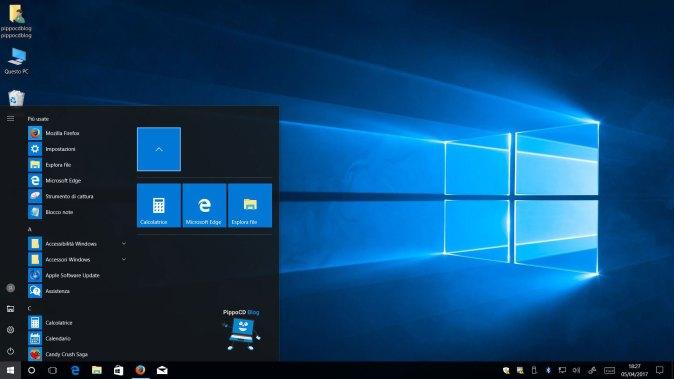 Windows 10 Creators Update cartelle nel menù start
